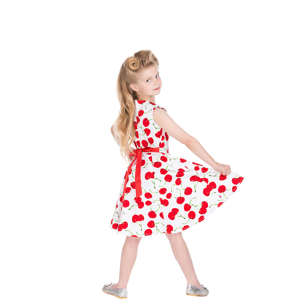 Kids Swing Dresses H & R Bombshell Cherry White Kids Swing Dress Girls
