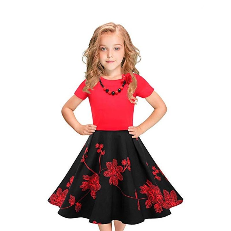 Kids Swing Dresses 2019 New Kids Girls Vintage Dress Polka Dot Swing