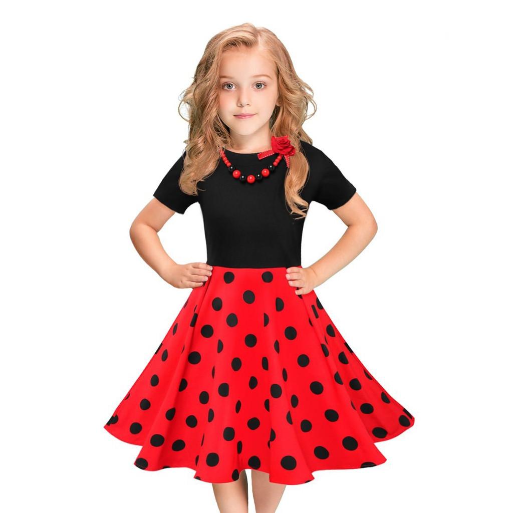 Kids Swing Dresses MUQGEW girls summer dress kids Vintage Dress Polka Dot