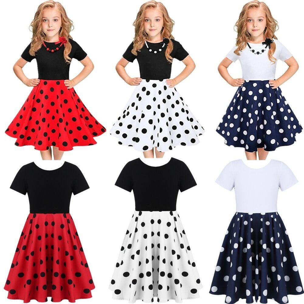 Kids Swing Dresses Kids Vintage Polka Dot Dress 50s Girls Swing Dresses for