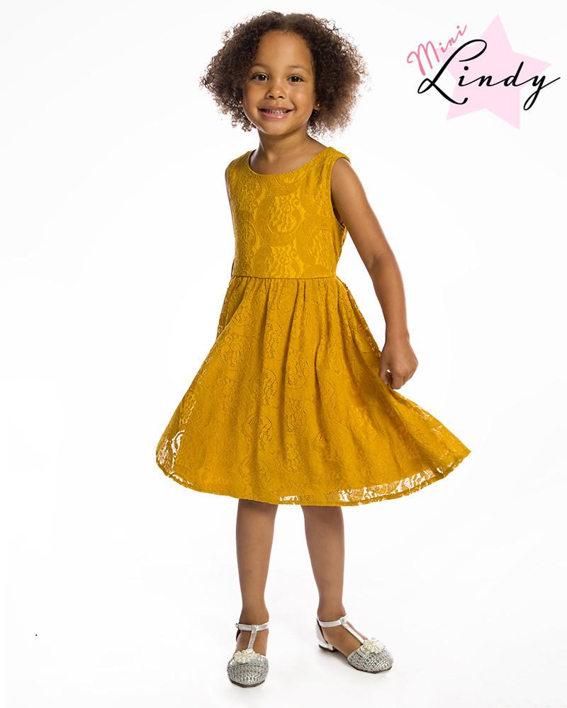 Kids Swing Dresses Mini Audrey Children s Mustard Lace Swing Dress