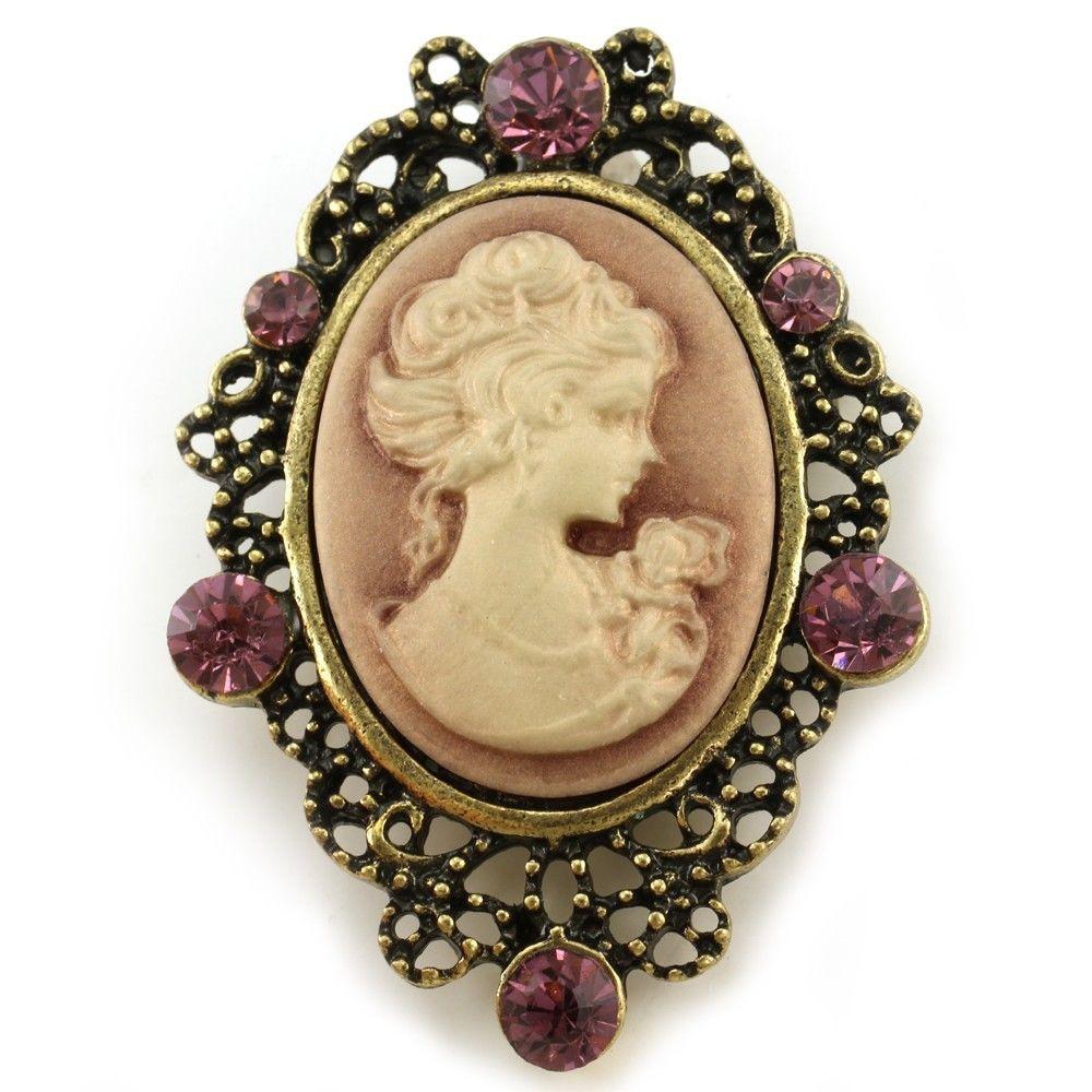 Pins Jewelry Bronze Brass Gold Tone Plum Purple Cameo Brooch Pin