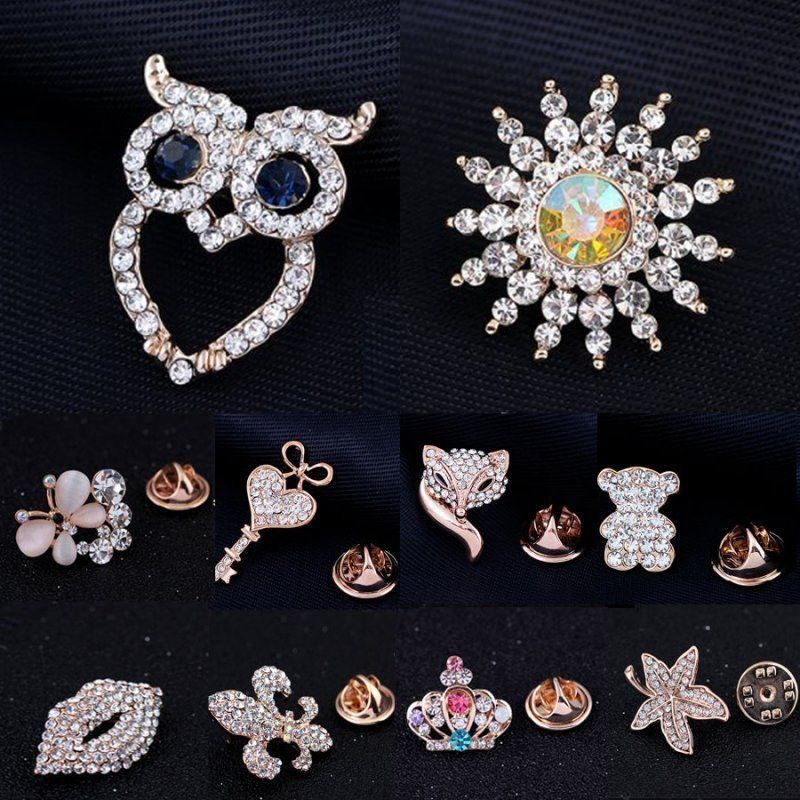 Pins Jewelry Charm Crystal Lapel Tie Tack Pins Collar Golden Brooch Pin
