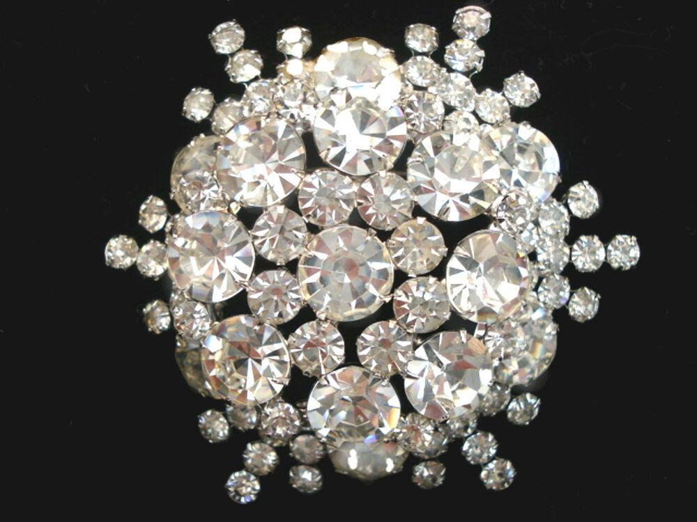 Pins Jewelry Vintage JULIANA Costume Jewelry Clear Rhinestone Brooch