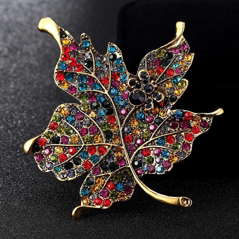 Pins Jewelry Blu e Enamel Brooches Jewelry Big Size Leafs Brooch Pins