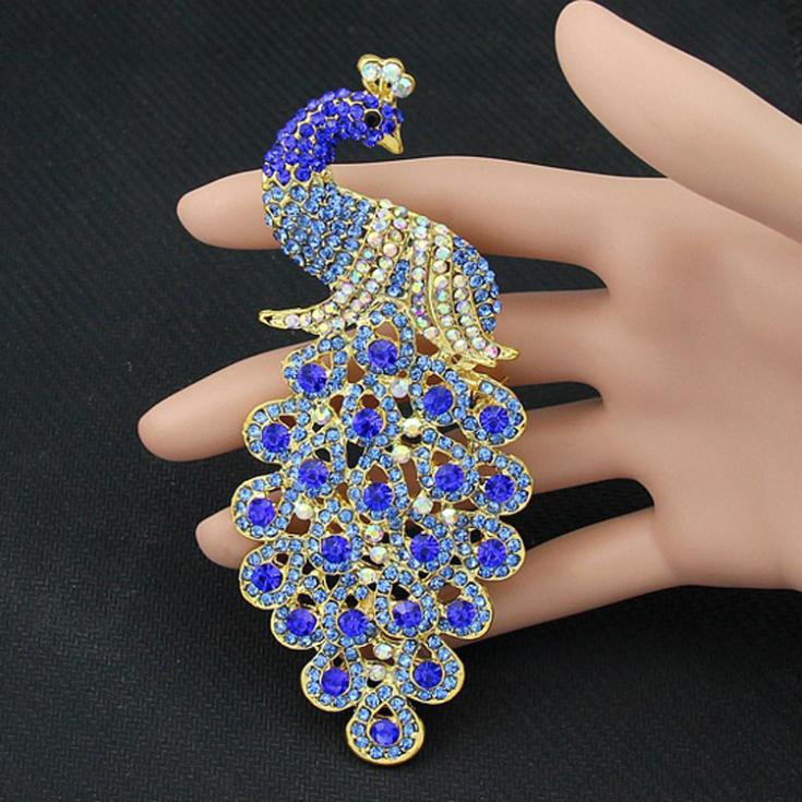 Pins Jewelry Drop Shipping Brooches Multicolor Rhinestone Blue Peacock