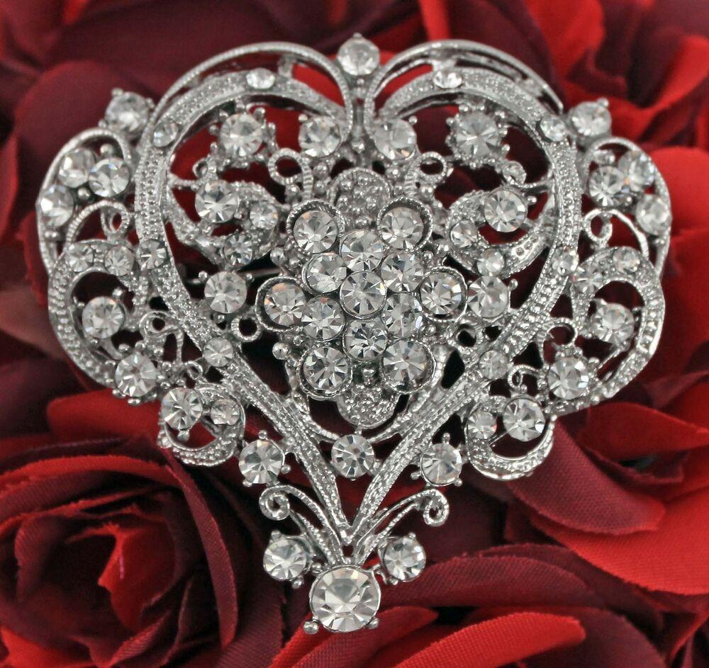 Pins Jewelry Women Elegant Crystal Rhinestone Teardrop Heart Shape